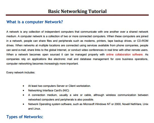 Download Free Courses Of Computer Network Tutorials