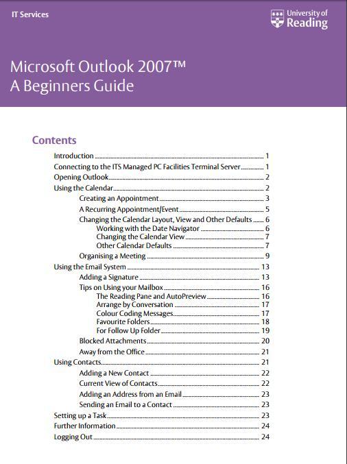 Ms Outlook 2007 Tutorial Pdf