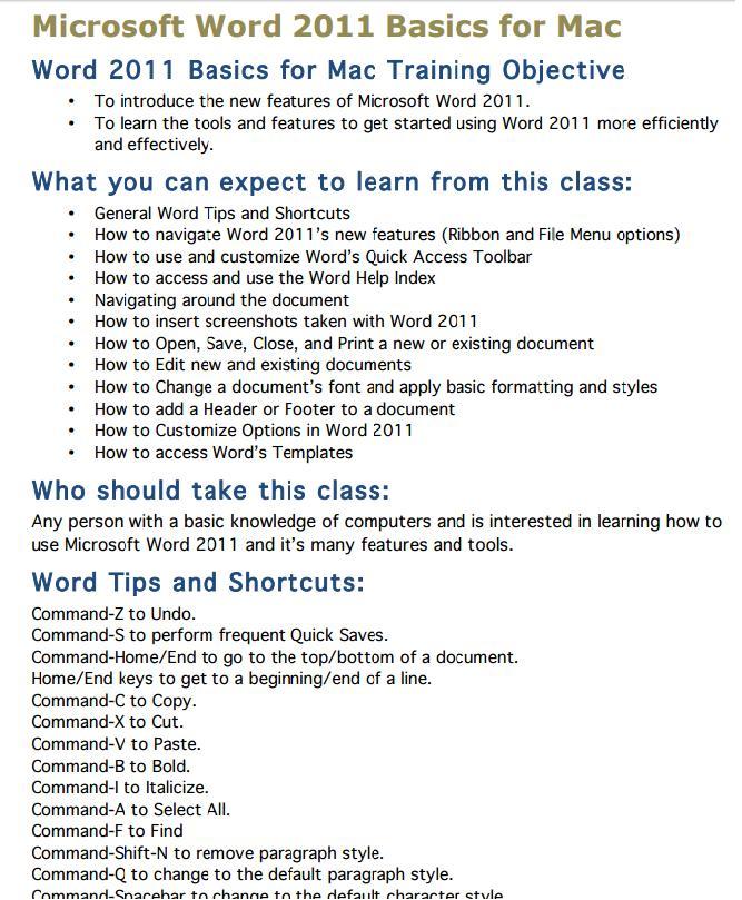 Mc Word 2011 Basics For Mac